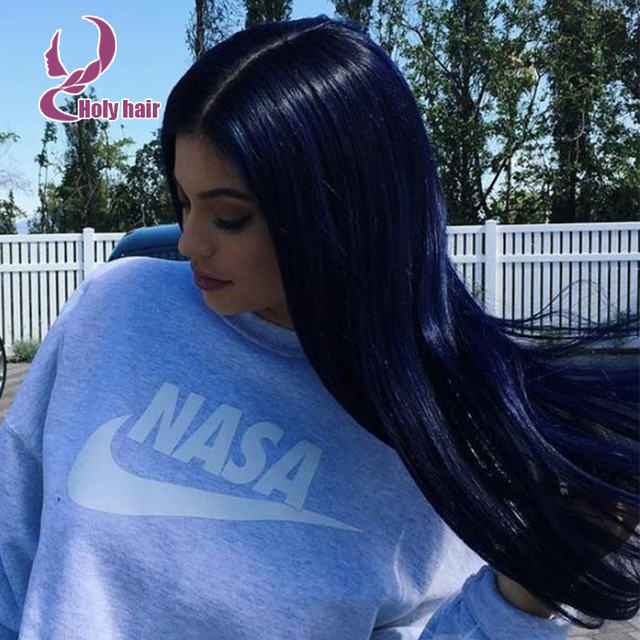 Dark Blue Natural Straight Human Hair Wigs For Fashion Women Straight  Brazilian Virgin Dark Blue Hair 87ecab3be1