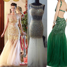Doragrace Charming Backless Mermaid Prom Gowns Illusion Sequins Beaded Evening Dresses