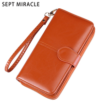 Women Oil Wax Leather Girls Wallets Female Card Holder Phone Pocket Purse Wallet Lady Clutch with Hsap and Zipper  Fashion Style