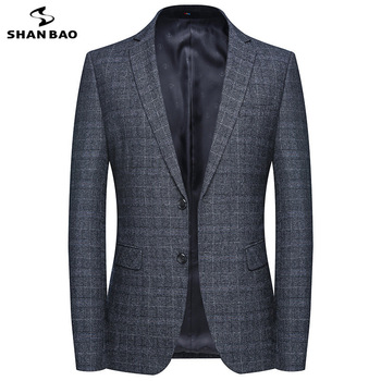 SHANBAO brand British style business gentleman men's plaid suit jacket 2019 autumn and winter new luxury high quality Slim suit