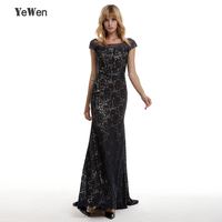 Vintage Cap Sleeve Luxury Lace Mermaid Evening Dress Beading Crystals Elegant Black Formal Evening Gowns Vestido