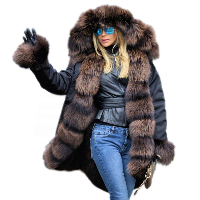 Roiii Thickened Warm Cafe Brown Thicken Faux Fur Fashion Warm Parka Women  Hooded Long Winter Jacket Coat Overcoat Snow Wear Coat f42c4b4c42