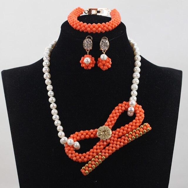 Orange Coral Pendant Necklace Wedding Jewelry Set Elegant Freshwater