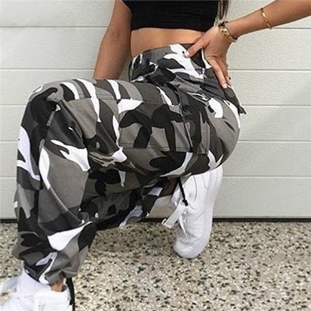 Litthing Women High Waist Camouflage Pants Fashion Pantalon Femme Trouser Ankle-Length Sweatpants Cotton Streetwear Camo Pants