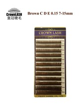 CrownLash Luxury Brown Lash Extension D, C, E 0.15 7-15mm Mixed size tray Free Shipping
