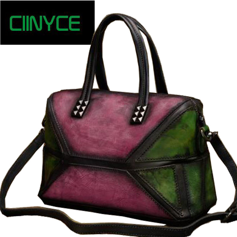 Genuine Vintage Women Handbag Handmade Cow Leather Skin Top Handle Totes Patchwork Crossbody Shoulder Messenger Retro Bag 2018 vintage genuine leather women handbag handmade cow leather top handle bag mix pink green shoulder messenger bag