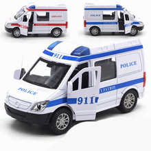 цена на ambulance car toy 911 Alloy pull back car mini With music auto diecast models miniature toy cars diecast 1:32 scale die cast toy
