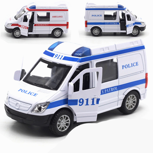 US $9 16 29% OFF|ambulance car toy 911 Alloy pull back car mini With music  auto diecast models miniature toy cars diecast 1:32 scale die cast toy-in