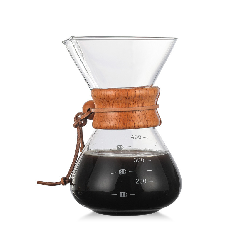 Wholesale High-Temperature Resistant Glass Coffee Maker Coffee Pot Espresso Coffee Machine With Stainless Steel V60 Filter Pot