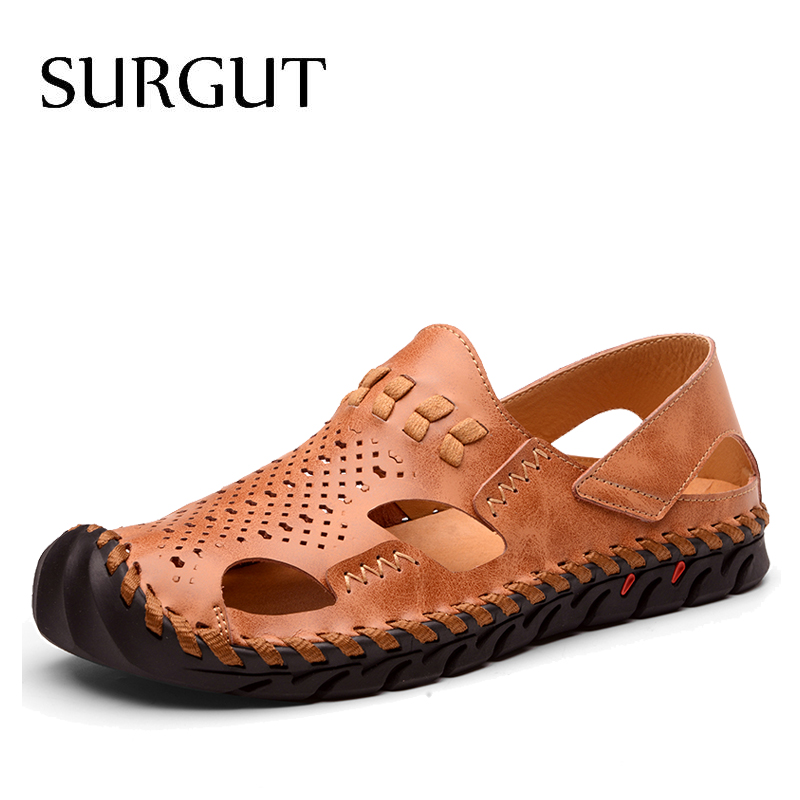 SURGUT Brand Hot Sale Men Sandals Sewing Slip-on Ankle-Wrap Genuine Leather Leisure Driving Shoes Men Beach Shoes Casual Shoes