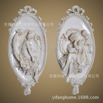European and American home-style antique white oval frame statue sample room wall hanging decoration crafts