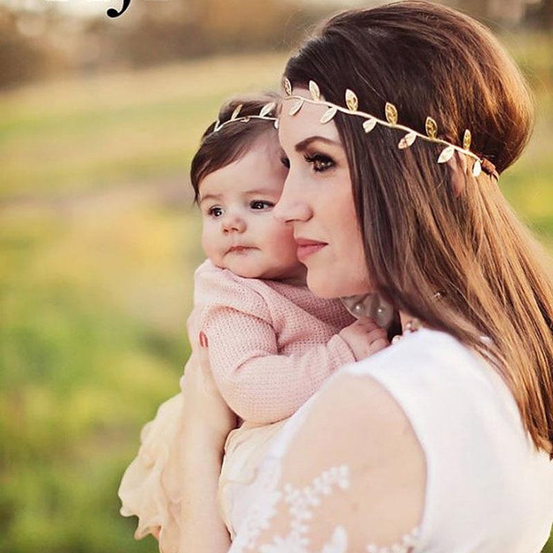 3set / mycket Gold Leaf Baby Girl Pannband Gold Vine Pannband Mamma - Kläder tillbehör - Foto 3