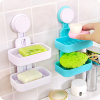1 PC Double Layer Plastic Soap Dishes Strong Suction Cup Bathroom Wall Vacuum Holder Drain Tray