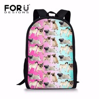 FORUDESIGNS Multicolor Puppy Pug Dog School Bag For Elementary Girls Cute Junior Primary Kids Schoolbag 16inch
