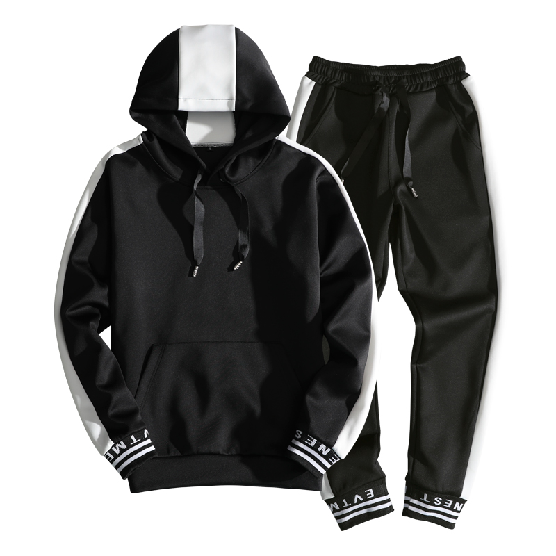 2018 Spring M-3XL Mens Sportswear Slim Fit Tracksuit Men Casual Hooded Mens Tracksuit Fitness Clothing Chandal Hombre Completo