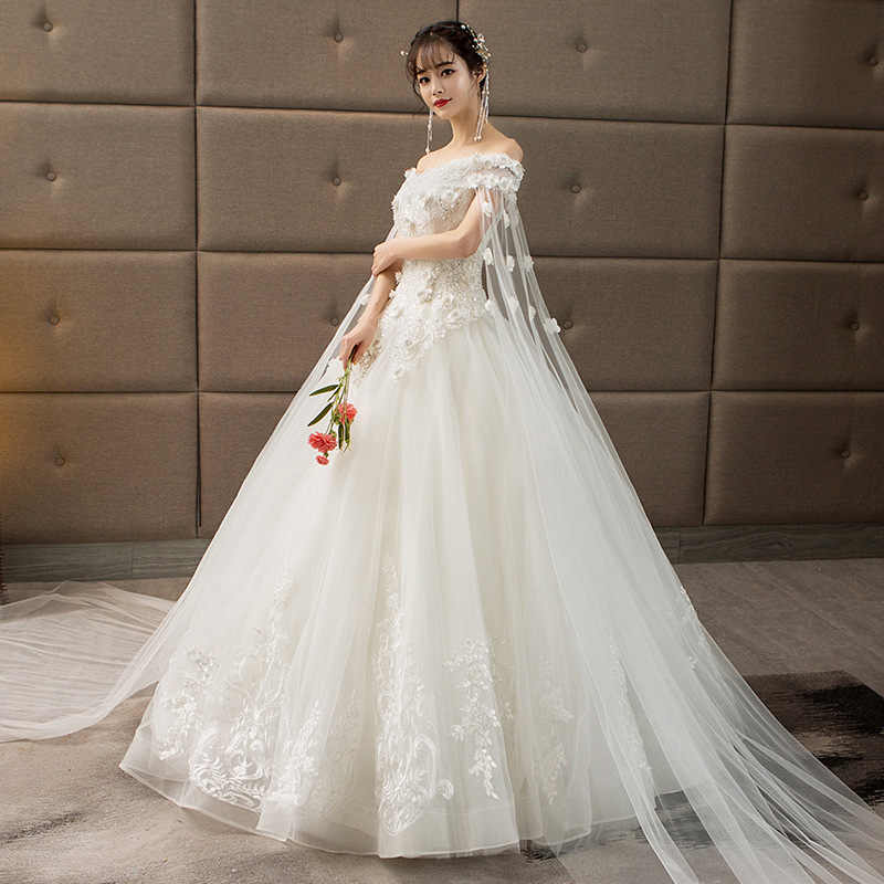3d1153d31aff ... 3D Flowers Wedding Dress Full Dress Bride Tailing Princess Dream 2018  Thin Boat Neck High Quality ...