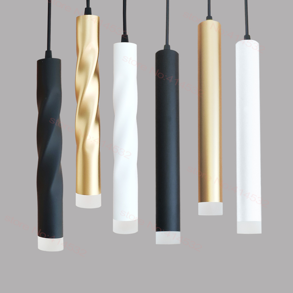 LED Pendant Lamp Dimmable Hanging Lights Kitchen Island Dining Room Shop Bar Counter Decoration Cylinder Pipe Kitchen Lights