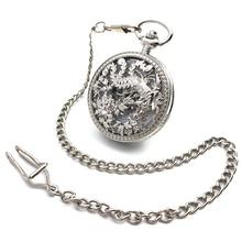 Flower Engraving Skeleton Steampunk Silver Tone Case Hand Wind Mechanical Men's Pocket Watch w/Chain Half Hunter Watch