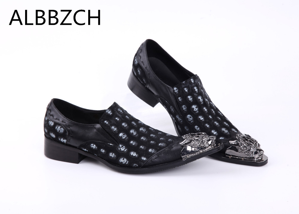 New mens sliver metal pointed toe skull genuine leather loafers casual shoes men flats luxury career work party shoes size 37 46New mens sliver metal pointed toe skull genuine leather loafers casual shoes men flats luxury career work party shoes size 37 46