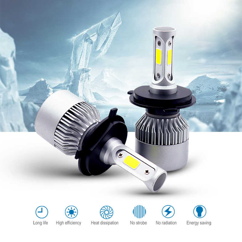Car H4 LED S2 Headlight Bulb 12V 60W 8000LM 6500K IP65 H1 H3 H7 H11 H13 880 9005 9006 Hb3 Hb4 LED Light Auto Lamp Headlamp Kit