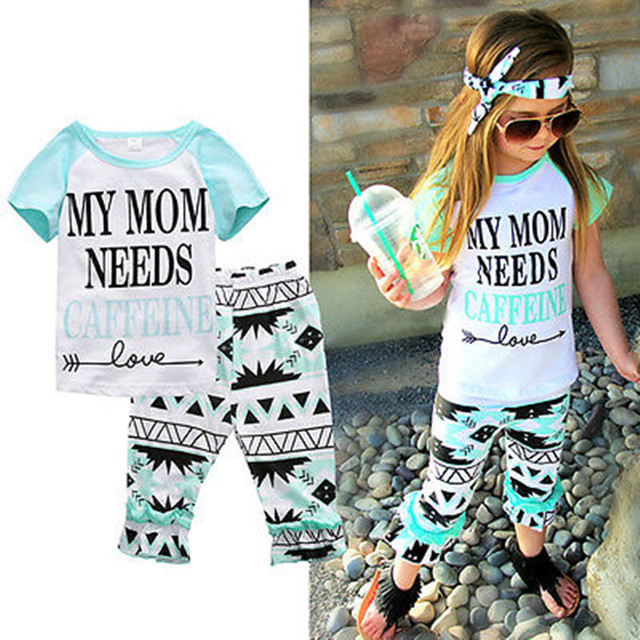 Baby Clothes Shorts Sets Aztec Pant My Mom Need Caffeine Kids