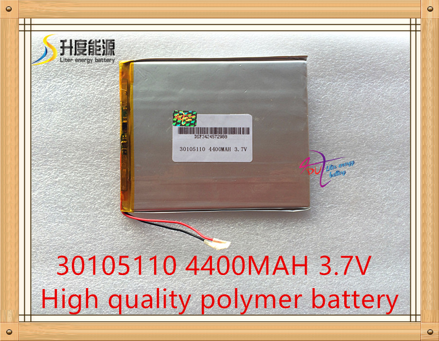 <font><b>3.7v</b></font> polymer lithium <font><b>battery</b></font> 30105110 <font><b>4400mah</b></font> mp5 power bank tablet PC PDA DIY product rechargeable <font><b>battery</b></font> image