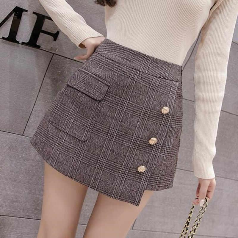 Onregelmatige plaid korte broek vrouwen nieuwe hoge taille slanke een lijn pacthwork elegante office plaid mini rokken shorts harajuku QV404
