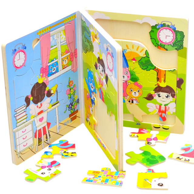free shipping Puzzle book of  wood books   wooden story book 2 y above  child jigsaw puzzle toy