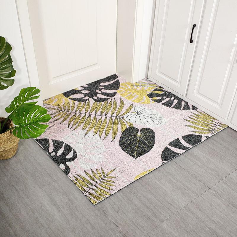 Style nordique PVC fil boucle tapis feuilles d'or porte d'entrée tapis sur mesure ins bricolage doux imperméable haute élasticité tapis en plastique