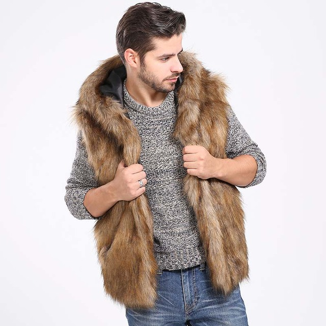 81bc1fe1a6d Faux Fur Vest Hoodie Hooded Waistcoats Men Winter Thicken Warm Hairy  Sleeveless Pocket Coat Outerwear Jacket Plus Size 3X 6Q2041