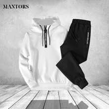 Autumn Winter Tracksuits Men Clothing 2018 Casual Two Piece Hoodies Sets Mens Fit Zipper Hoody Sweatshirts Pants Sportwear Male(China)