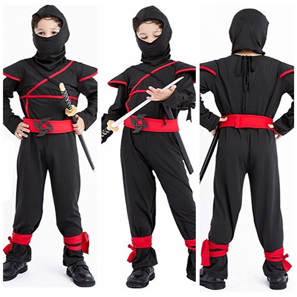 Children Kids Black Ninja Costumes Super Handsome Boy Warrior Christmas Halloween Party Game Clothing Cosplay CostumesGift