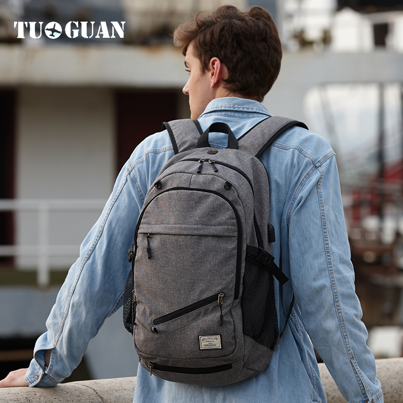 TUGUAN Fashion Mesh Pocket Men Backpacks School College Student Back Pack Laptop Bookbag Bag for Teenagers Casual Travel Bagpack day and night embroidery lovers backpacks canvas men women school bag for teenagers student book bags casual sport back pack
