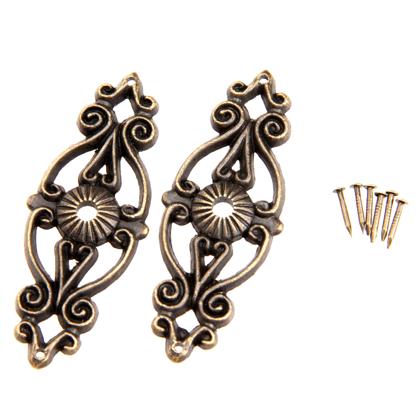 2Pcs Antique Bronze Decorative Jewelry Gift Box Album Feet Leg Corner Protector Iron Furniture Fittings With Nails 63*24mm