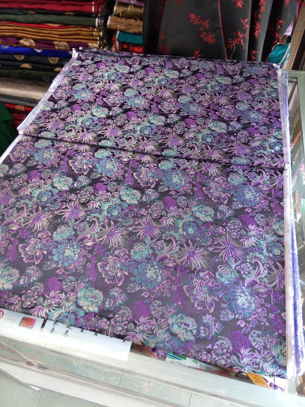 Silk brocade fabric chinese traditional woven black back with lake silk brocade fabric chinese traditional woven black back with lake blue and purple peony flowers pattern new color match in fabric from home garden on izmirmasajfo Image collections
