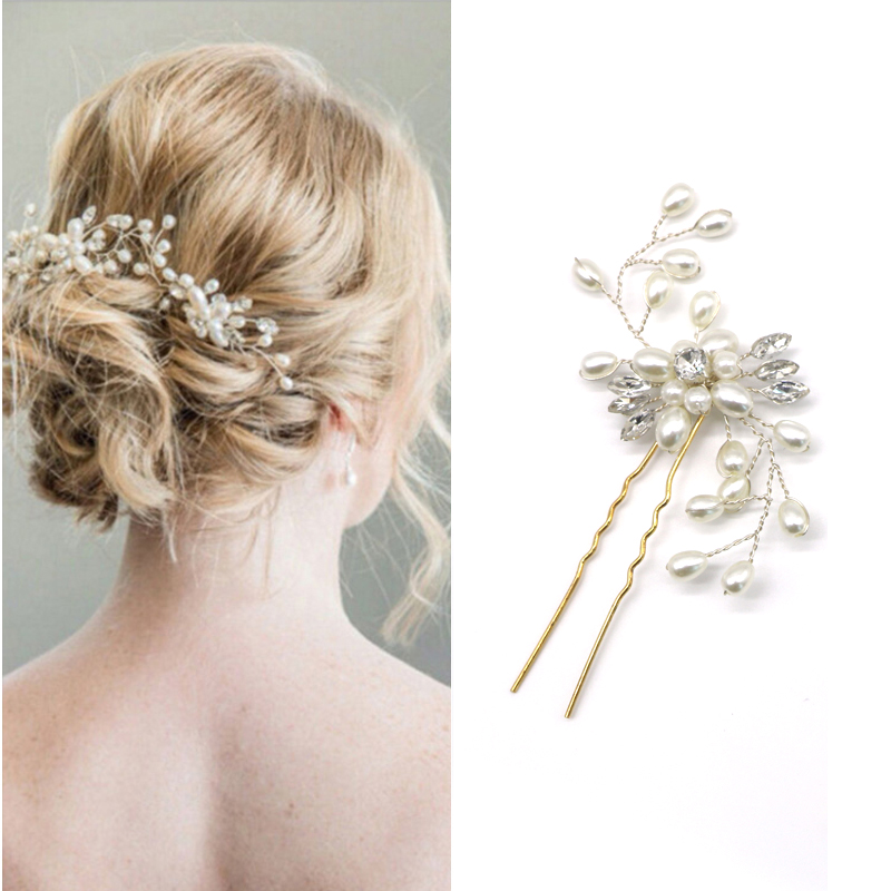 Arherigele Wedding Hair Accessories Crystal Pearl Hairpins Barrettes Handmade Bridesmaid Hairclips Bride Hairgrips Hair Jewelry