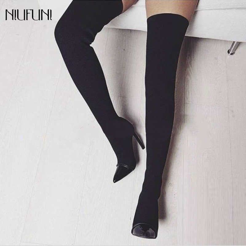22a770a088 Fashion Fabric Sock Boots Pointed Toe Over-the-knee Heel Thin High Heels  Woman