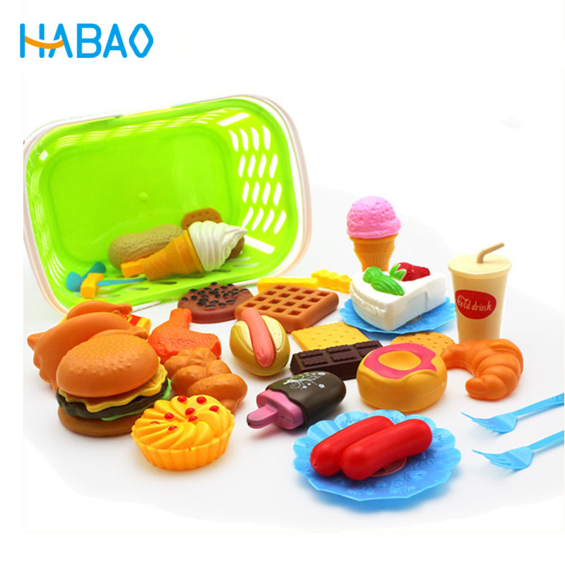 Us 0 8 40 Off Kids Pretend Play Miniature Fun Kitchen Plastic Food Birthday Cake Hamburger Cookies Drink Gifts For Children S Educational Toys In