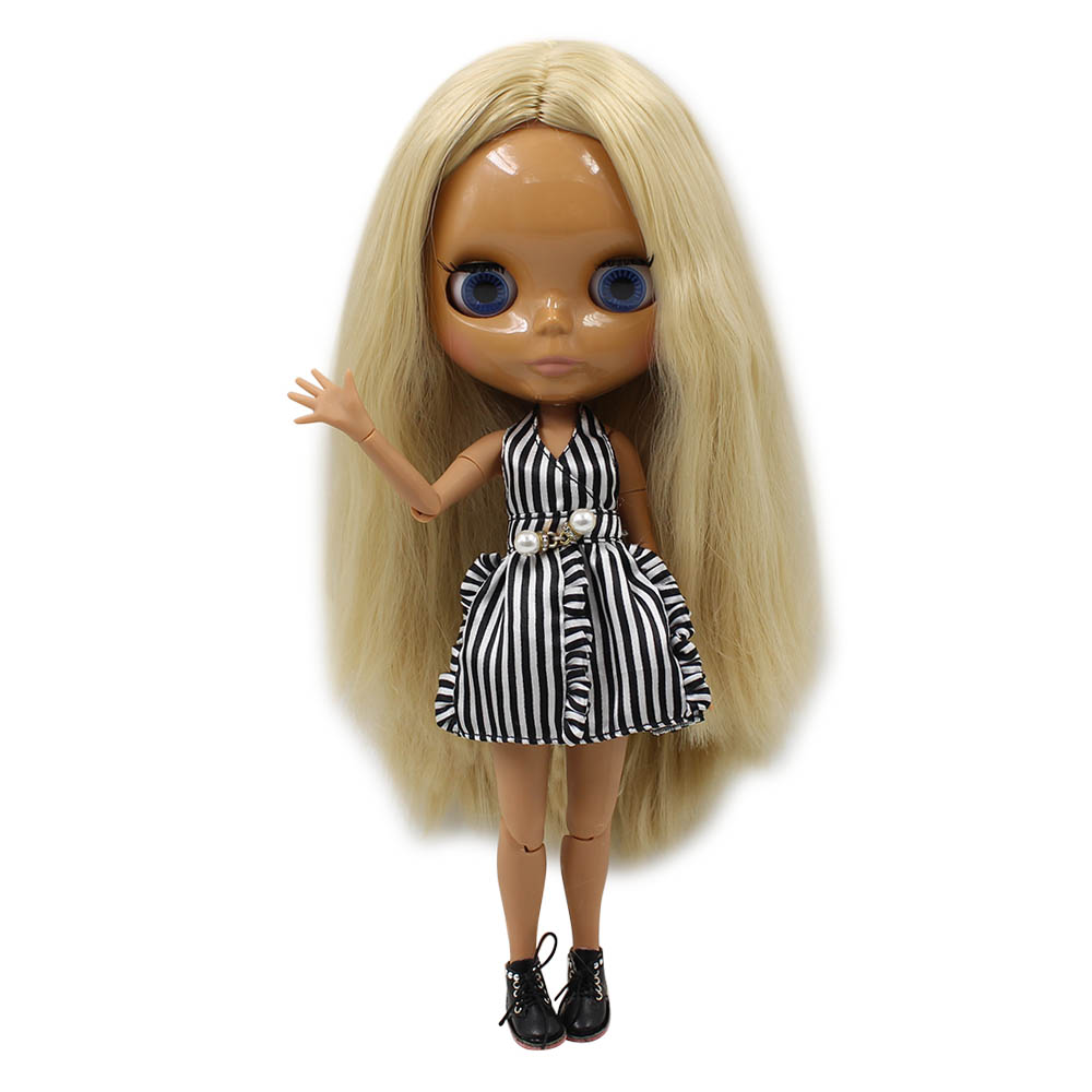 Brilliant Special Price Blyth Joint Body Nude Doll Straight Blond Hair No Bangs Dark Skin 30cm Suitable For Diy No.538 Quality And Quantity Assured Toys & Hobbies