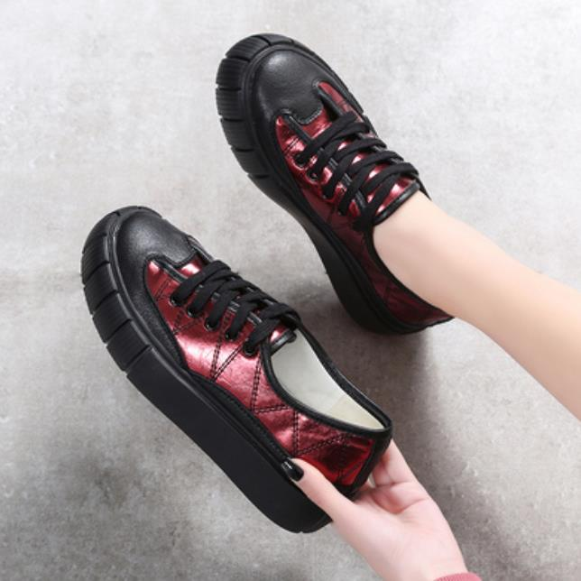 vino Todo en Tinto de Gruesa Primavera Y De Las 2019 blanco Nueva De uno Cuero Rojo Mujeres Otoño Suela Zapatos Casuales YqwpHX