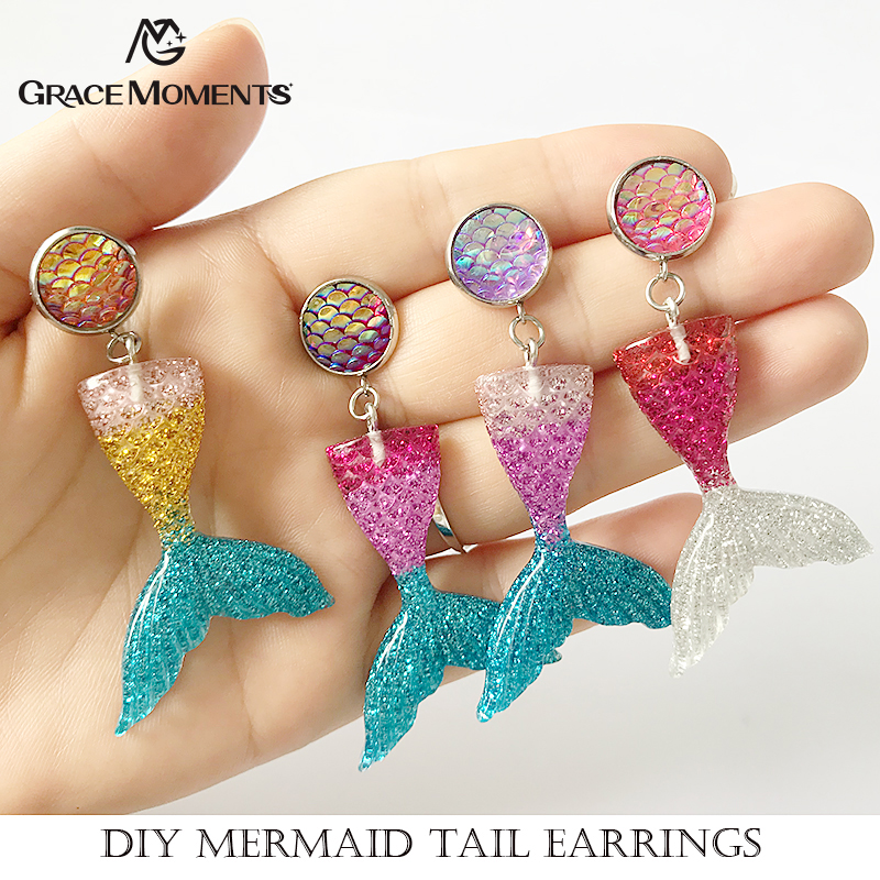 2pairs/lot Pure Handmade Mermaid Fish Scales Tails Drop Dangle Earrings, Glitter Mermaid Tail Earring, Cute Girls Ear Jewelry ...