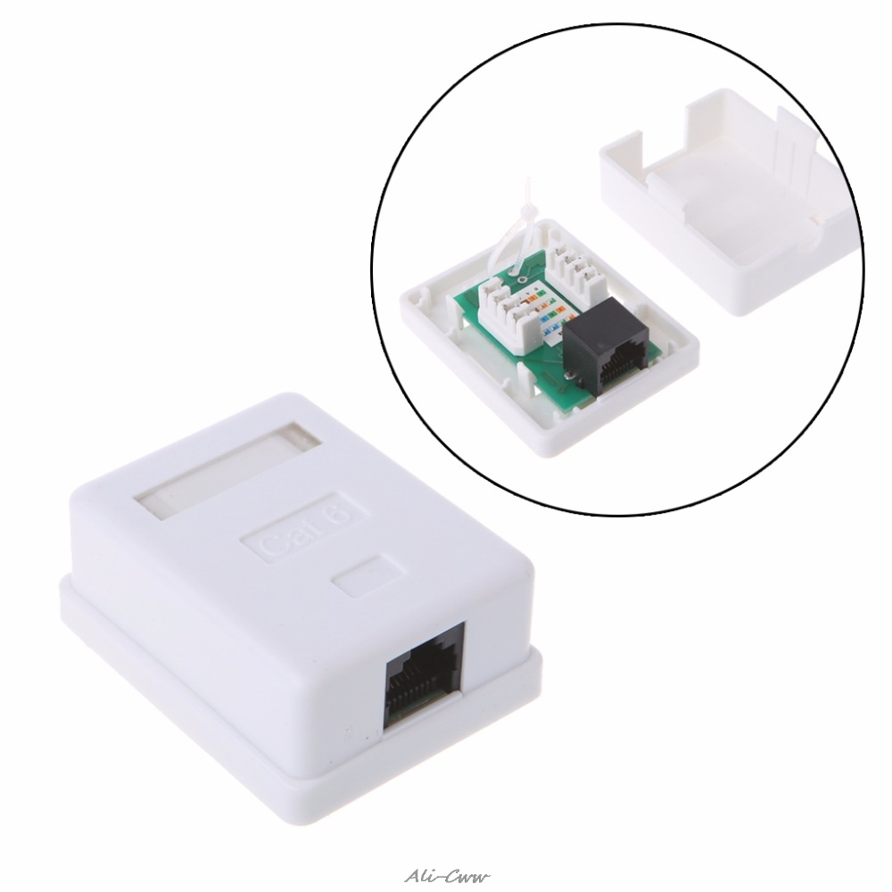 Cat6 RJ45 8P8C Wall Coupler Jack Adapter UTP Unshielded Single Port Desktop Mount Box White