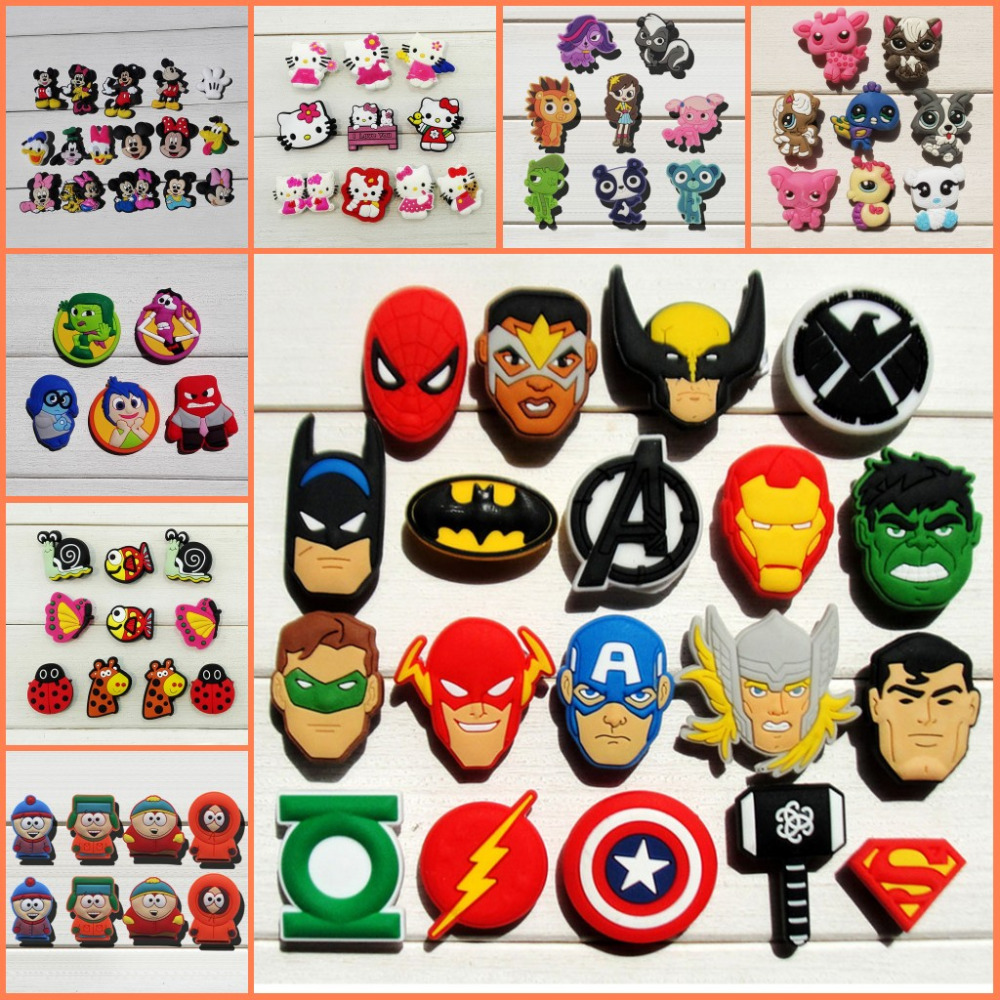 100pcs Mixed Avenger Star Wars X-men Cartoon PVC Shoe Charms Shoe Accessories Shoe Buckle Croc Decorations Jibz Kids Party Gift