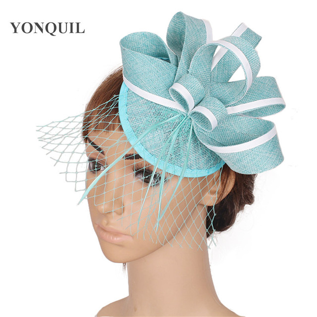 turquoise fascinator with feather imitation sinamay fascinators hats bridal  hair accessories with veil High quality 17 colors b8fd2595f57