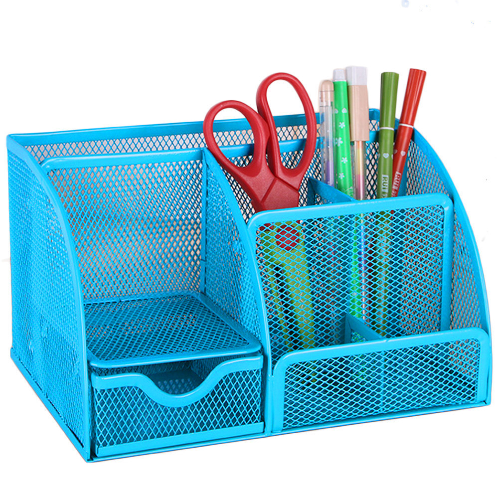Black/blue Mesh Desk Organizer Office Supplies Caddy Combination Pen Holder Card Case Organizer Storage Box