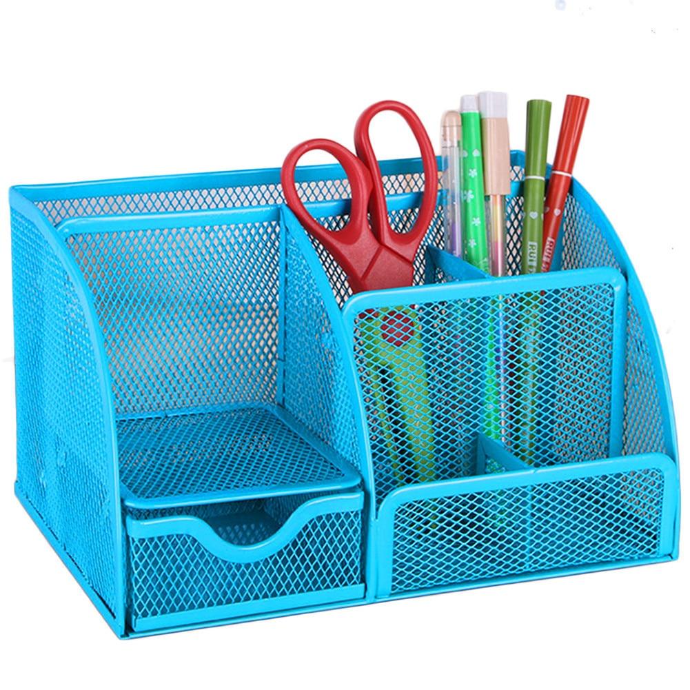 Sort / blå Mesh Desk Organizer Kontorutstyr Caddy Kombinasjon Penn - Hjem lagring og organisasjon
