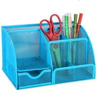 Black/blue Mesh Desk Organizer Office Supplies Caddy Combination Pen Holder Card Case Organizer Storage Box