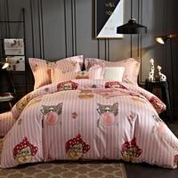 Mèo dễ thương print 100% ai cập cotton giường có bộ 4 cái vua queen size duvet cover tấm ga trải giường vỏ gối bằng vải lanh
