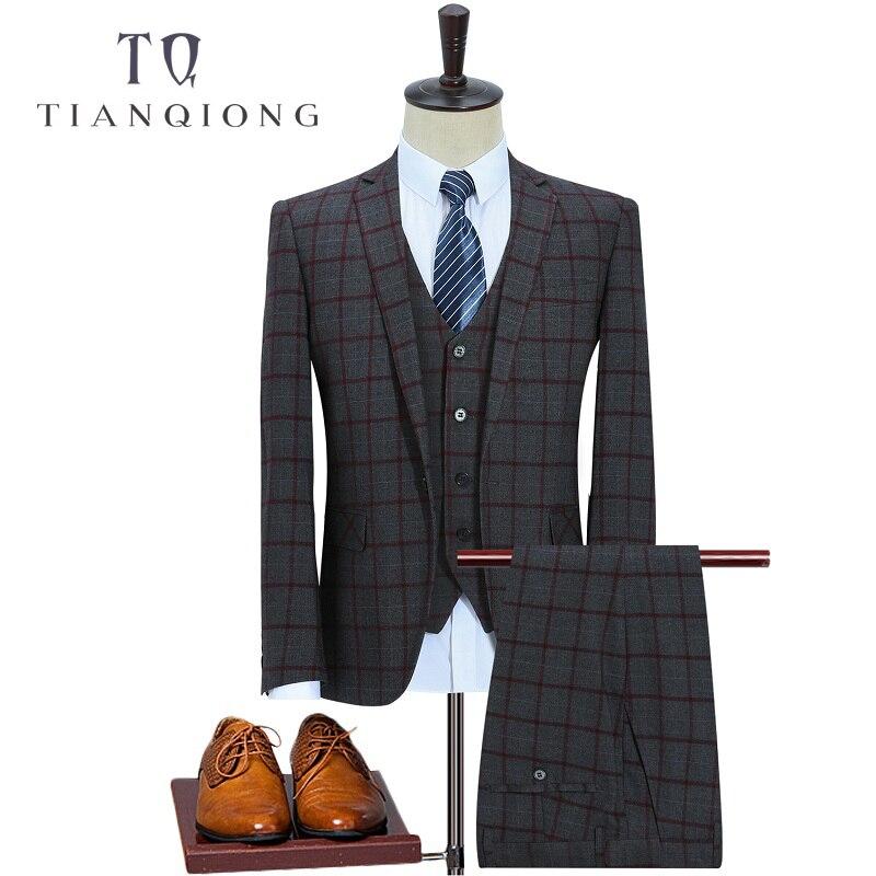 TIAN QIONG(Jackets+Vest+Pants)Wool  Purple Men Suits Slim Custom Fit Fashion Bridegroom Business Dress Wedding Suits Blazer XXXL