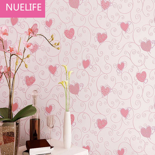 053x10 Meter 3D Love Non Woven Wallpaper Girls Kids Room Princess For Home Decoration